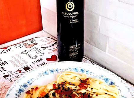 Enjoying some Pasta with Extra Virgin Olive Oil, Garlic & Sun-dried tomatoes