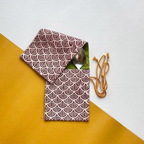 Scallop Block Printed Cutlery Roll