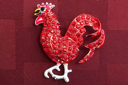 Solid Red/Red Crystal Rooster Pin