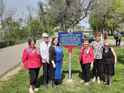 Unveiling a historic marker at Niagara Falls