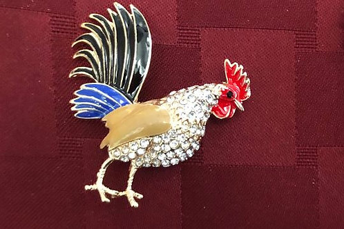 Multi- Color/Clear Crystal Rooster Pin