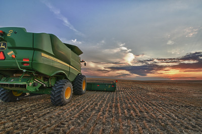 Combine harvesting wheat. Image by Shannon Dizmag