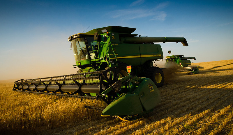 Combine harvesting wheat in Colorado wheat field. Image by Shannon Dizmag