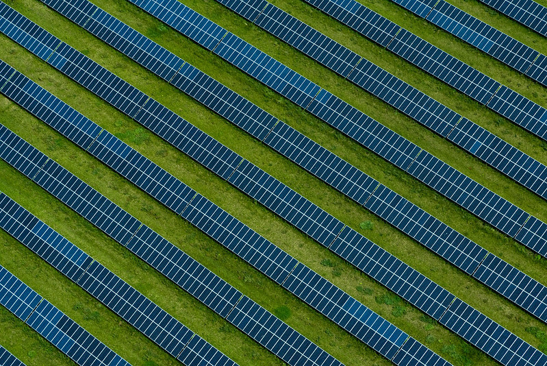 A 22-acre solar project is seen in Dorchester County on the Eastern Shore of Maryland on June 5, 2018. The field was designed by Cambridge Solar to meet forty percent of the electricity needs for the National Aquarium in Baltimore. (Photo by Kaitlyn Dolan/Chesapeake Bay Program)