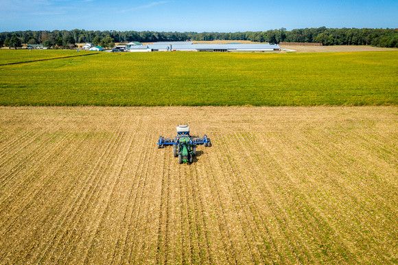 Tractor and planter from the air being used to plant cover crops Image by Edwin Remsberg