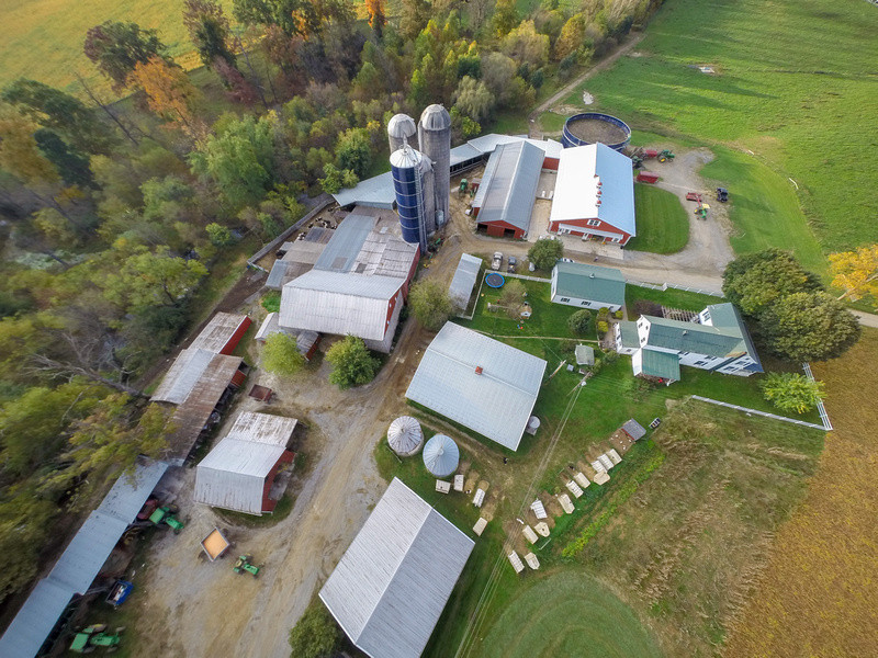 Image of Maryland dairy farm with barns, lots, and silo. Image by Edwin Remsberg.