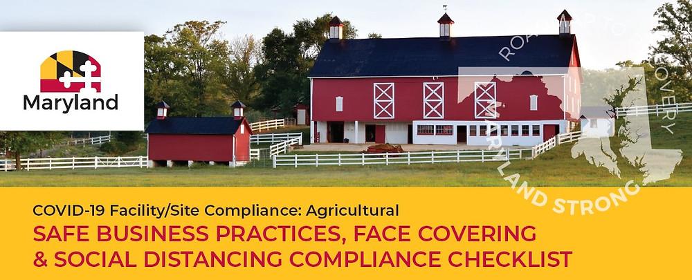 "Image is a red barn with white fencing and the title below the image is ""COVID-19 Facility/Site Compliance: Agricultural Safe Business Practices, Face Covering & Social Distancing Compliance Checklist.""  Image is from the cover of Maryland Department of Agriculture's guide entitled same."