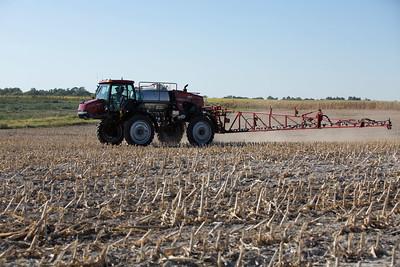 Sprayer in field by United Soybean Board