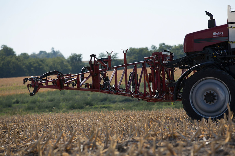 Image of sprayer in field by United Soybean Board.