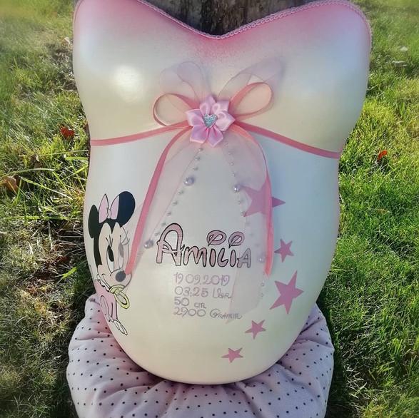 Babybauchabdruck im Disney Design Mini Maus Baby in Rosa und Sternchen