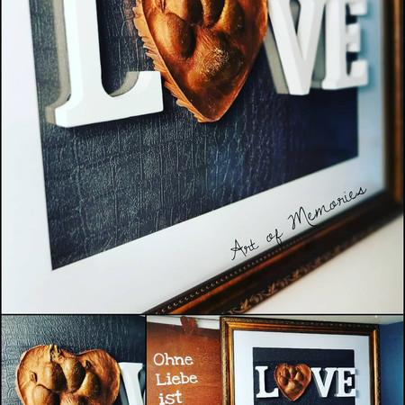 Love Abdruck Hundepfote in Bronze Look