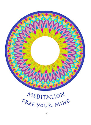 דפי מנדלות לצביעה - MEDITATION - FREE YOUR MIND