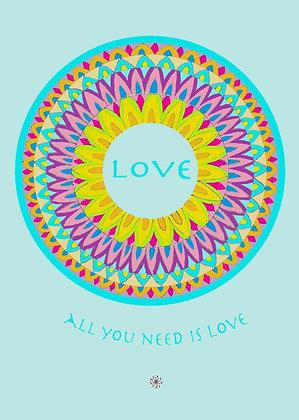 דפי מנדלות לצביעה - ALL YOU NEED IS LOVE