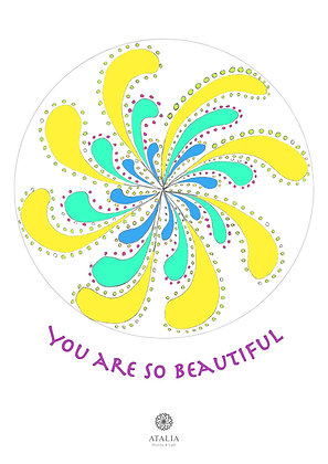 דפי מנדלות לצביעה - YOU ARE SO BEAUTIFUL
