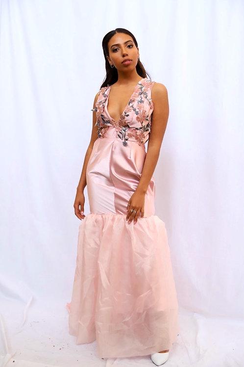 Flora Maxi Satin Gown in Blush