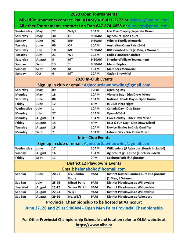 2020 Agincourt Tournaments Schedules 202