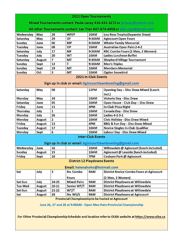 2021 Agincourt Open & In-Club Tournament