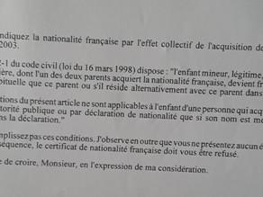 Certificat de nationalité française et transmission de la nationalité française par filiation.
