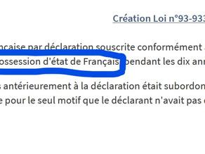 La possession d'état de français.