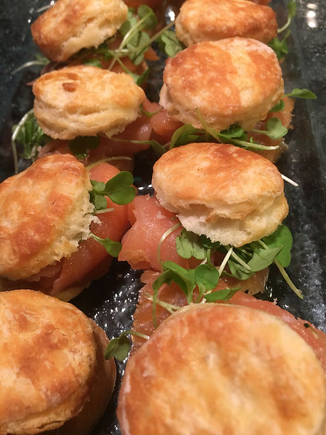 Mini Biscuits with Smoked Salmon