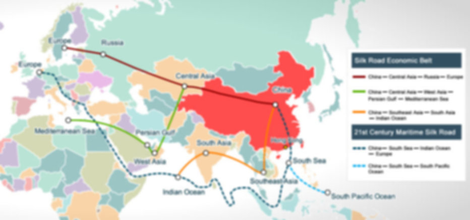 New Silk Road from Europe to China via Russia and Kazakhstan