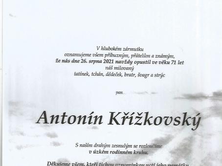Navždy nás opustil dlouholetý člen, hráč a trenér Antonín Křížkovský