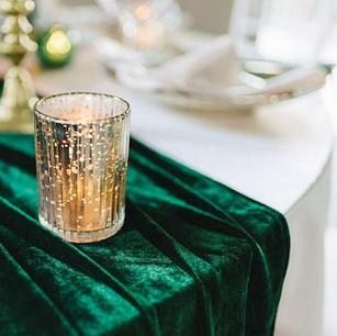 GREEN VELVET TABLE RUNNERS
