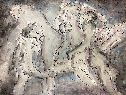 Men carrying women in an energetic horizontal composition, rendered in gestural ink and cool wash.
