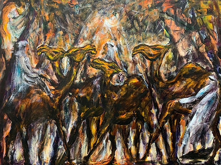 Four camels and three robed men, occupy  an abstracted desert scene.