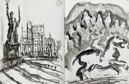 Pages from an opened sketch book. On the left is an ink wash drawing of the Statue of Liberty in New York Harbor, with buildings in the background. On the right is a figure on horseback rides left to right in front of a group of standing figures. Rendered in line and wash.