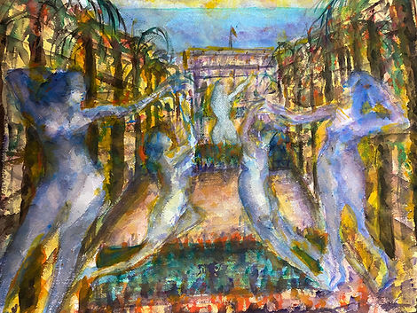 Water color with five purple women standing and dancing, hovering over a garden with yellow buildings to left, right, and rear.