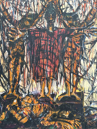Three figures stand on pedestals, one lies curled on the floor. Of the standing men, man in center is covered in red with arms extended; on either side of him a nude man hang by wrists. Gestural marks in blacks obscure the scene, emphasizing the violence.