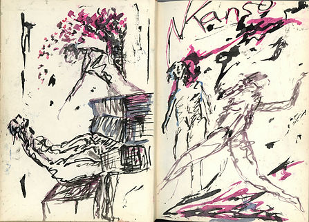 Pages from an opened sketch book. A bearded piano player leans back as a woman points at him from above. An explosion of pink and black animates the top of the page. On the right, two nude figures are energetically sketched. The artists' named is inscribed at the top. Pink and black marks at the top and bottom.