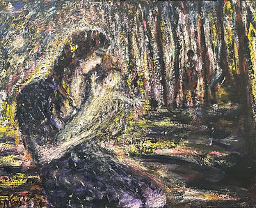 Woman holds a child in left foreground, beyond stands a shadowy figure stands in a forest. Horizontal format; yellow, black, red.