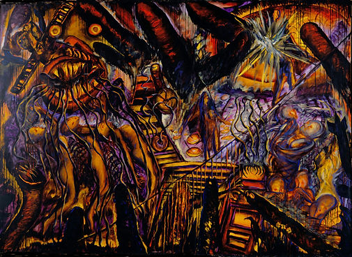 An all over composition abstracted in hot reds and oranges and cool purples. A bombed out image with monsters, cowering figures, and burning houses and pools. The horror of war.