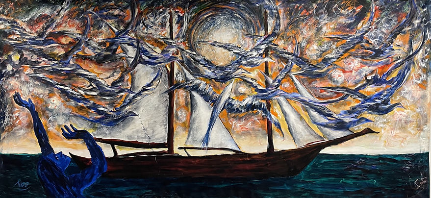 A maritime scene with a blue woman in lower left gestures toward sea birds swirling in the upper 2/3. A long boat with sails floats on calm water, with fiery sunlit sky above.
