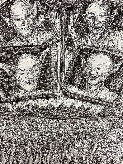 Four goblin heads are framed within boxes and float at the top of the picture plane. An abstracted crucifix divided the plane. Beneath them a mass of human tumult churns and piles of human skulls creating the horizon. Vertical format; black ink on paper.