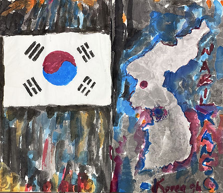 Pages from an opened sketch book. On the left is the flag of South Korea set upon a wash of color in dark vertical strokes. On the right a map of the Korean Peninsula floating in a wash of blue and gray. The artist's name is inscribed on the right edge with Korea '94 below.