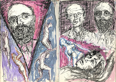 Pages from a sketch book. On the left side, a bearded man with glasses peers through a v-shape created by figure studies in blue and purple. On the right side is a double portrait of two men with glasses, one with a beard. Beneath them are two figure studies surrounded in pink.