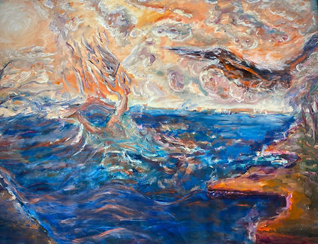 An abstracted landscape with a winged figure falling from the warm bright sky into the swirling blue sea.