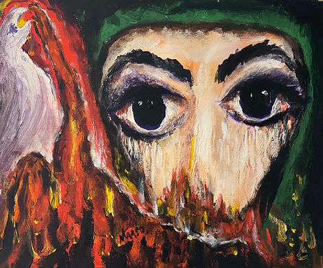 A closely framed portrait of a woman wearing a green hijab, her expressive eyes dominate the painting. Partially framed by flames and a white bird.