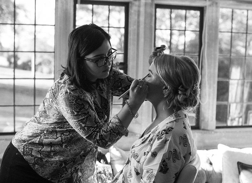 MUA getting Bride ready