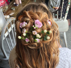 Bridal up-do with real flowers