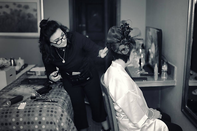 Hairdresser finishing touches