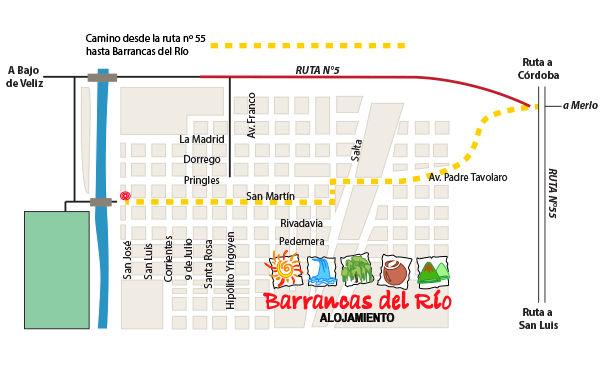 Croquis Cómo llegar a Barrancas del Rio Alojamiento