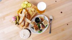 Pickle plate, dumplings and beer!