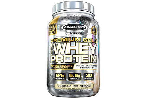 MuscleTech Premium Gold post-workout protein powder (Vanilla ice-cream flavour)
