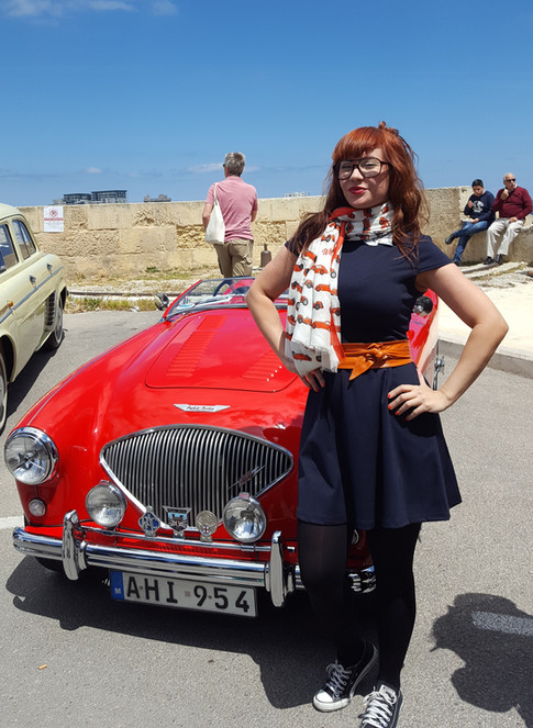 The Alfa Romeo scarf gets shown off at the Malta Concours in 2017