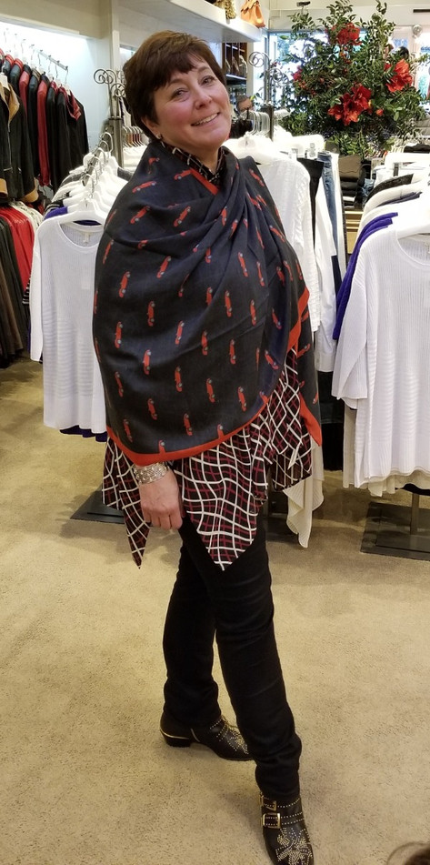 Tracy Odle, owner of Augustina's Carmel, wearing our Mini Ferrari scarf