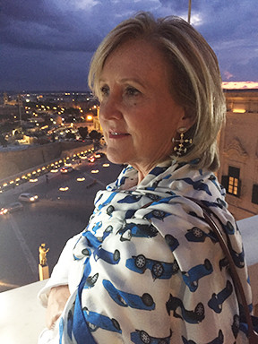 Overlooking the sites of Malta in the Bugatti scarf/shawl